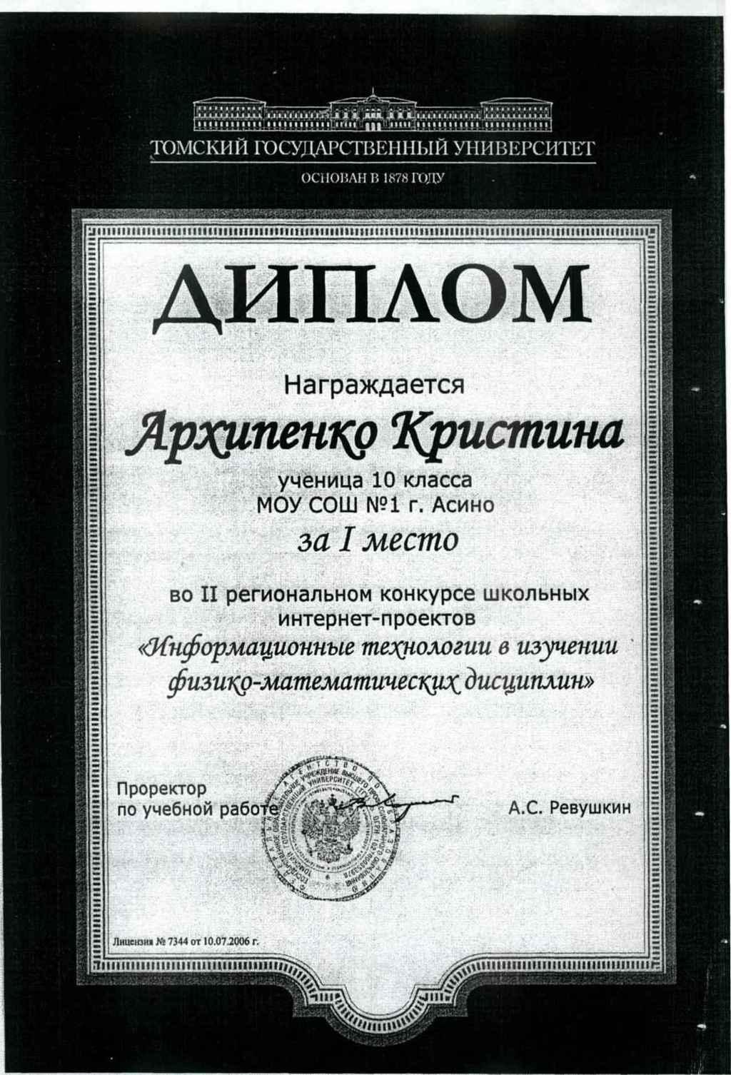 Диплом Архипенко К